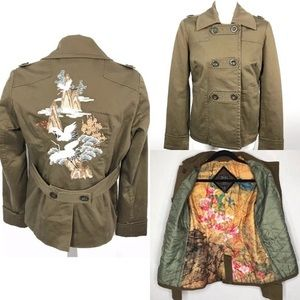 Lucky Brand Military Style Embroidered Jacket